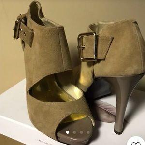 Nine West tan suede open toe heels!
